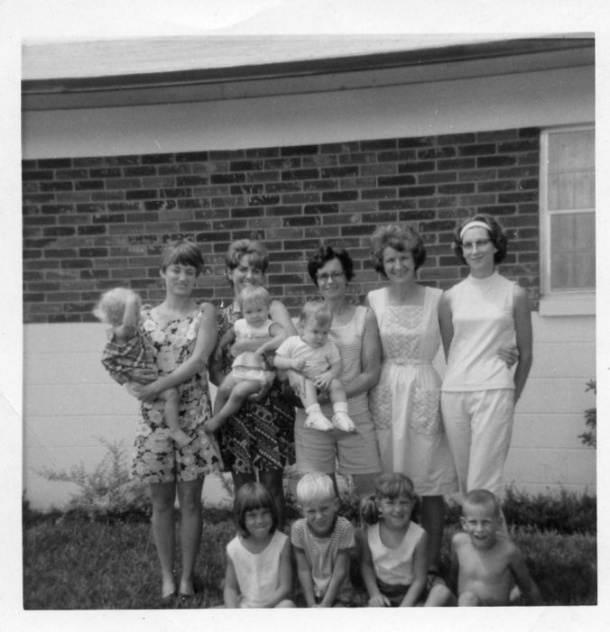 Tampa Neighborhood Moms, 1968, Kay Walsh, Cherry Montgomery, Carol Haas, Mom, Ann White, sitting are Sally, John Walsh, Toni, Danny White